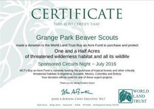 World Land Trust Certificate